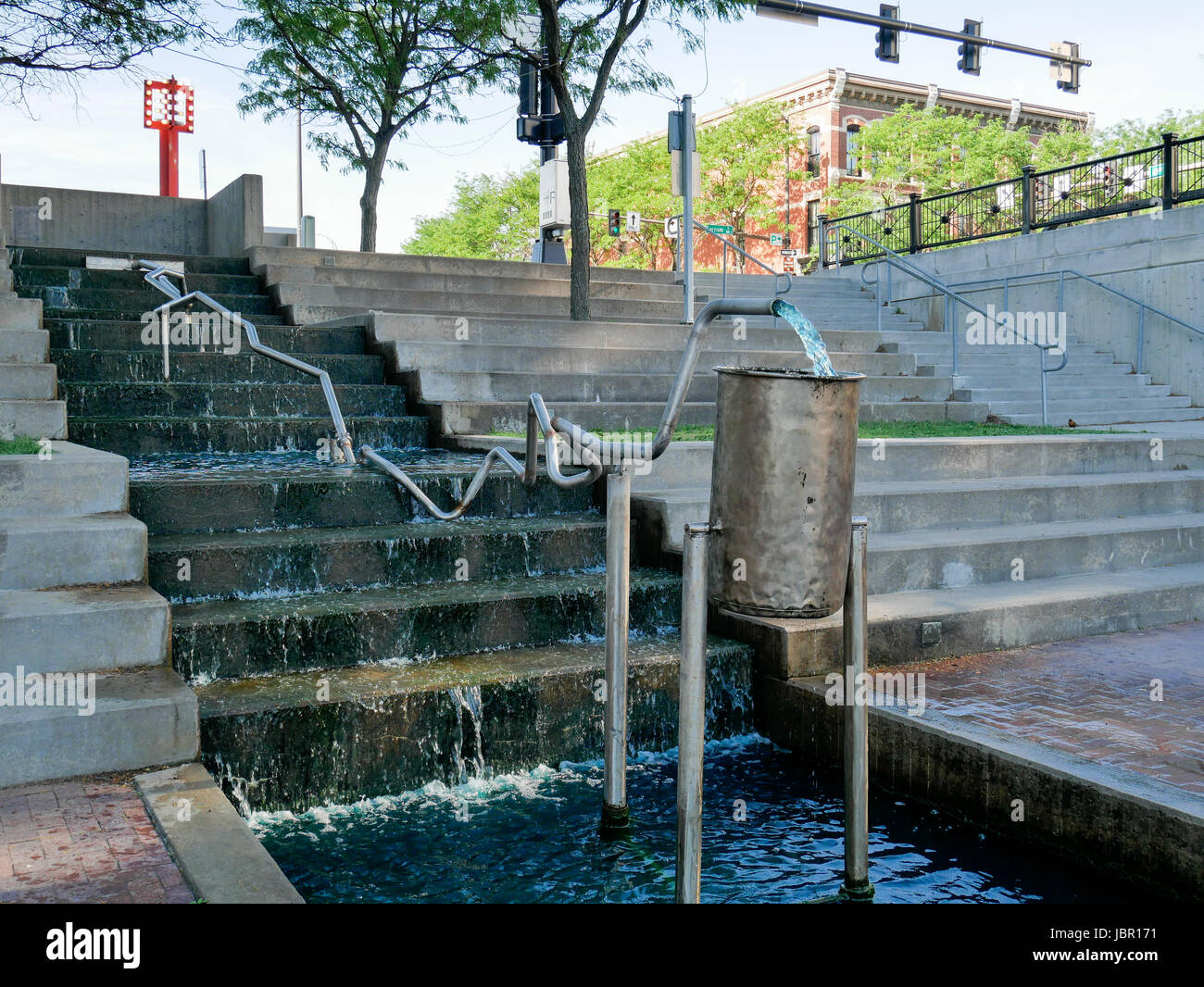 Water sculpture, Gene Leahy Mall, Omaha, Nebraska. Stock Photo