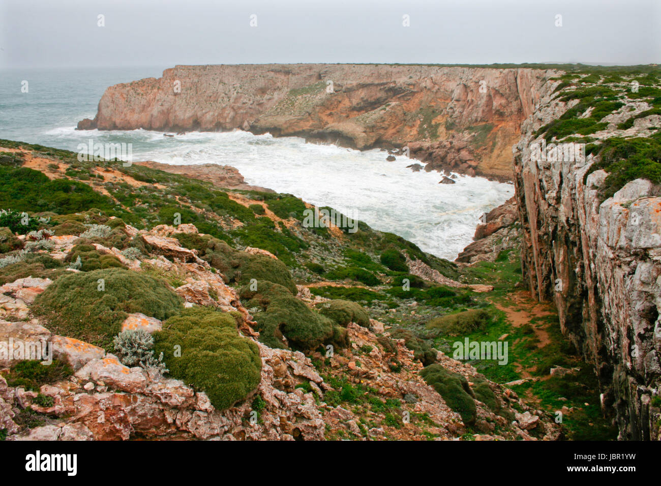 Cabo de Sao Vicente, the Most South Westerly point of Europe, Portugal Stock Photo