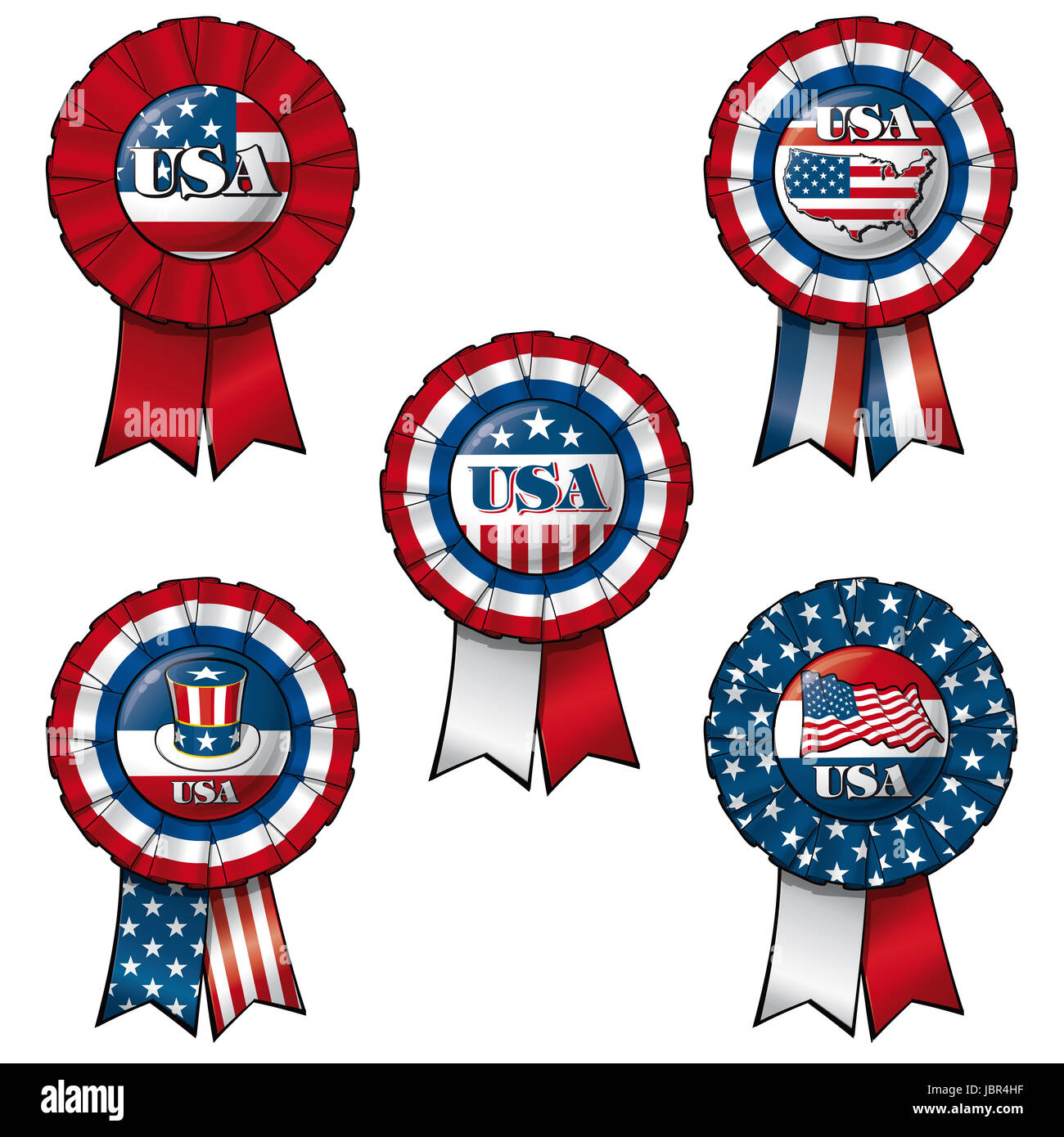 Set of 5 interchangeable Ribbons and Buttons on 'USA' subject.  Each of the 5 items on separate layers. - Stock Image