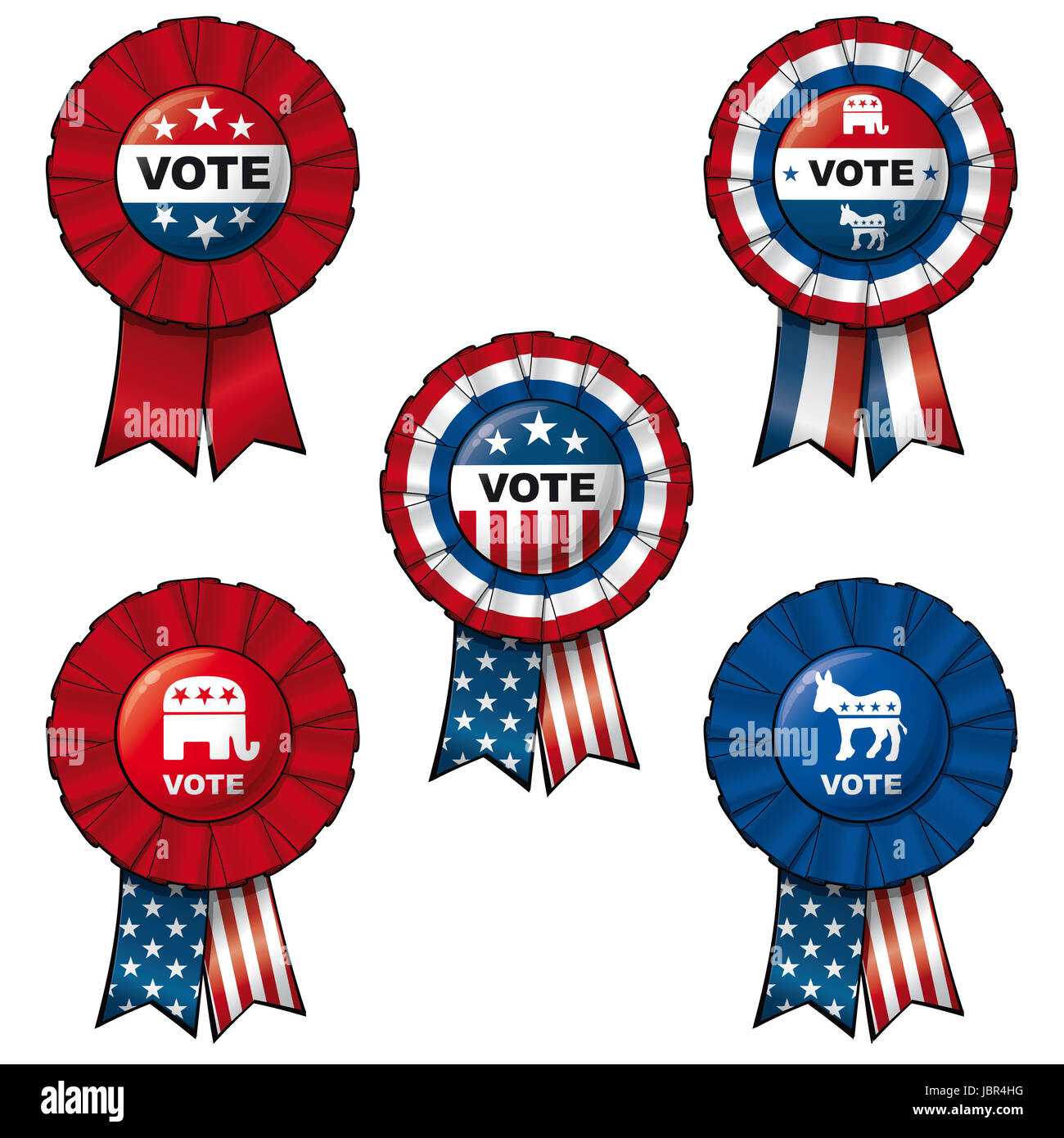 Set of 5 interchangeable Ribbons and Buttons on 'VOTE' subject.  Each of the 5 items on separate layers. - Stock Image