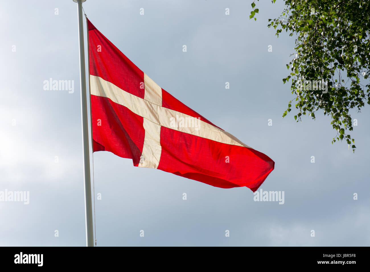 Danish flag on a flag pole in summer with gray clouds in the background - Stock Image