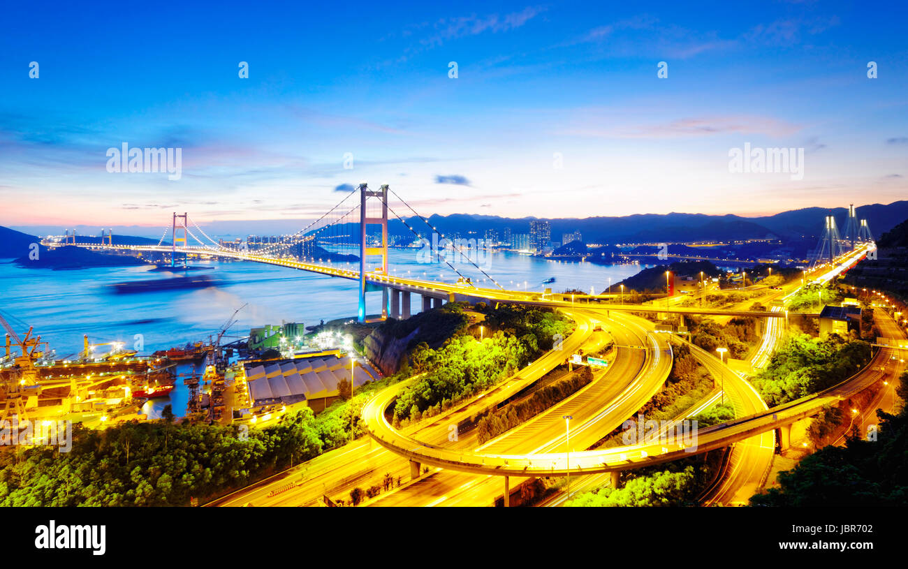 Tsing Ma Bridge sunset , hong kong landmark - Stock Image