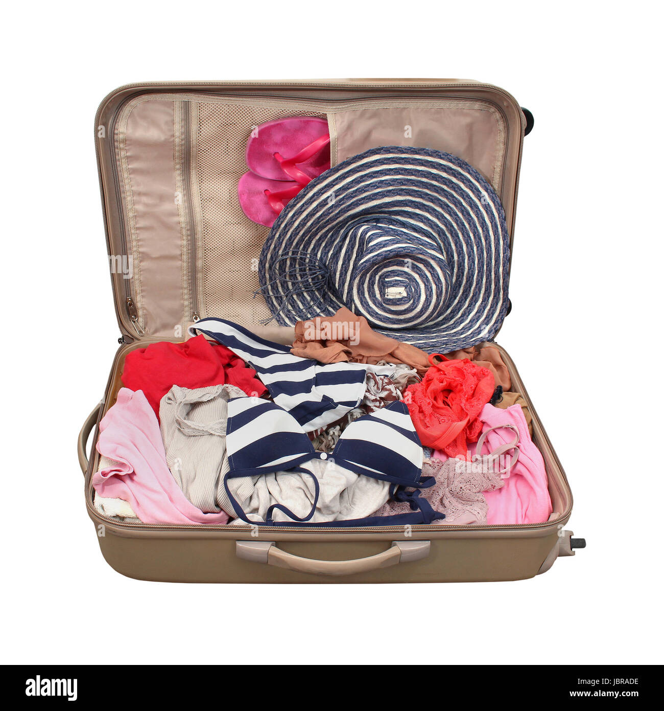 Open suitcase with summer vacation clothes isolated with clipping path included - Stock Image