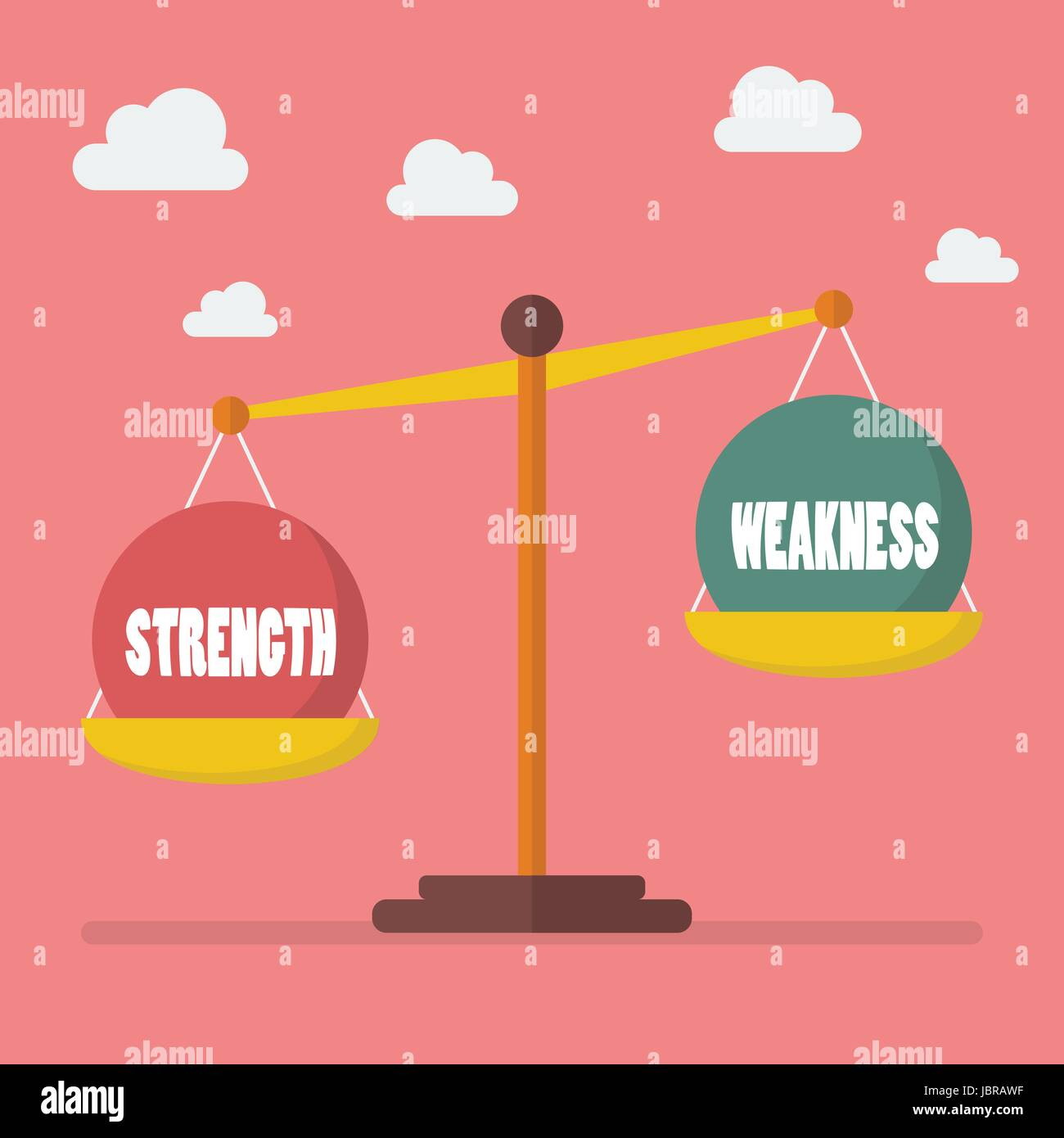 Strength and weakness balance on the scale. Vector illustration - Stock Vector
