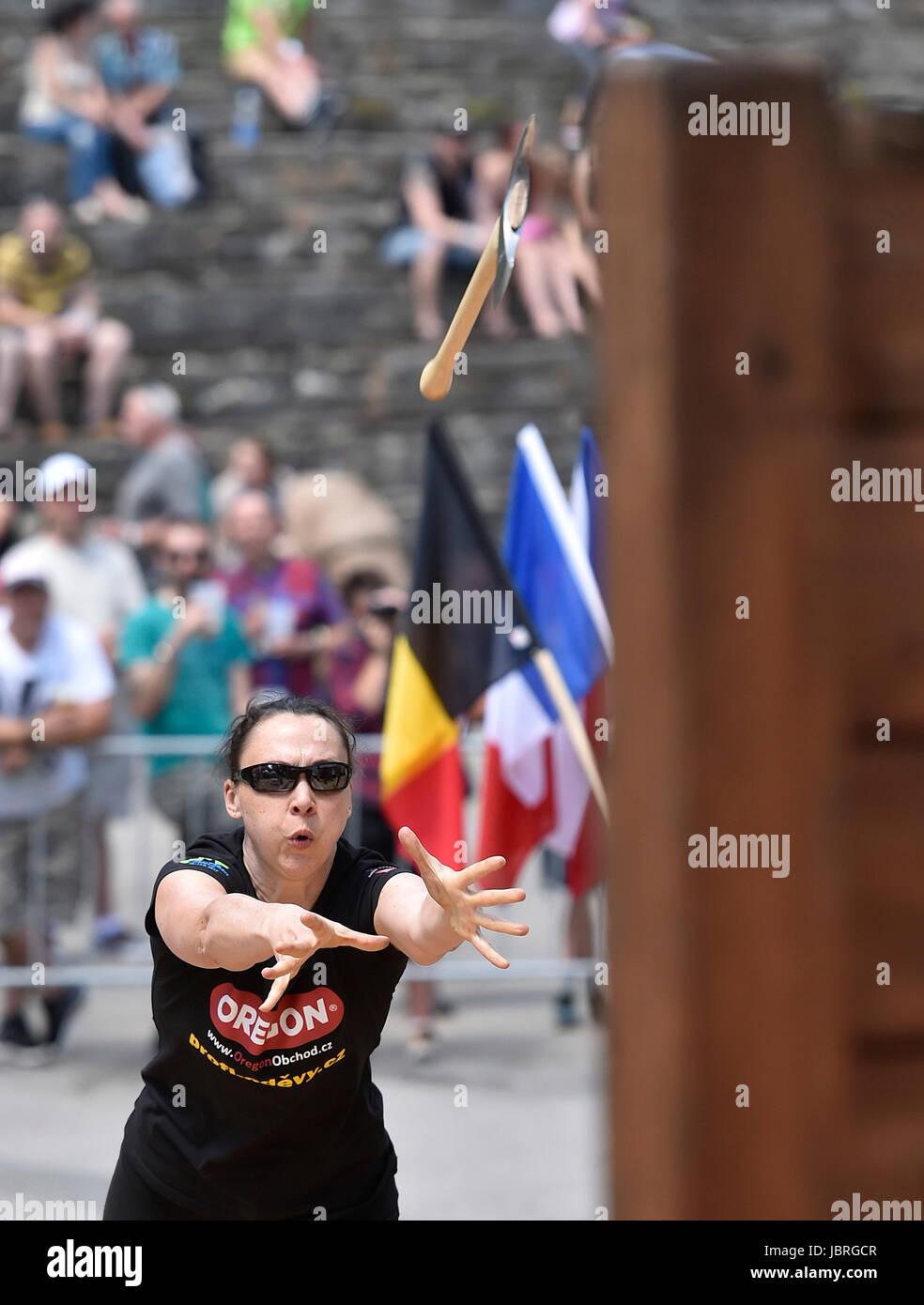 Jihlava, Czech Republic. 11th June, 2017. German Svenja Bauer in action during Axe throw Eurojack 2017 international - Stock Image