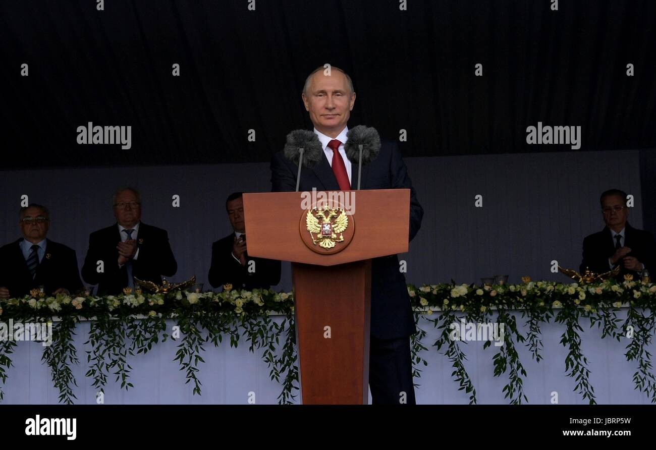 Moscow, Russia. 12th June, 2017. Russian President Vladimir Putin addresses a holiday reception marking Russia Day - Stock Image