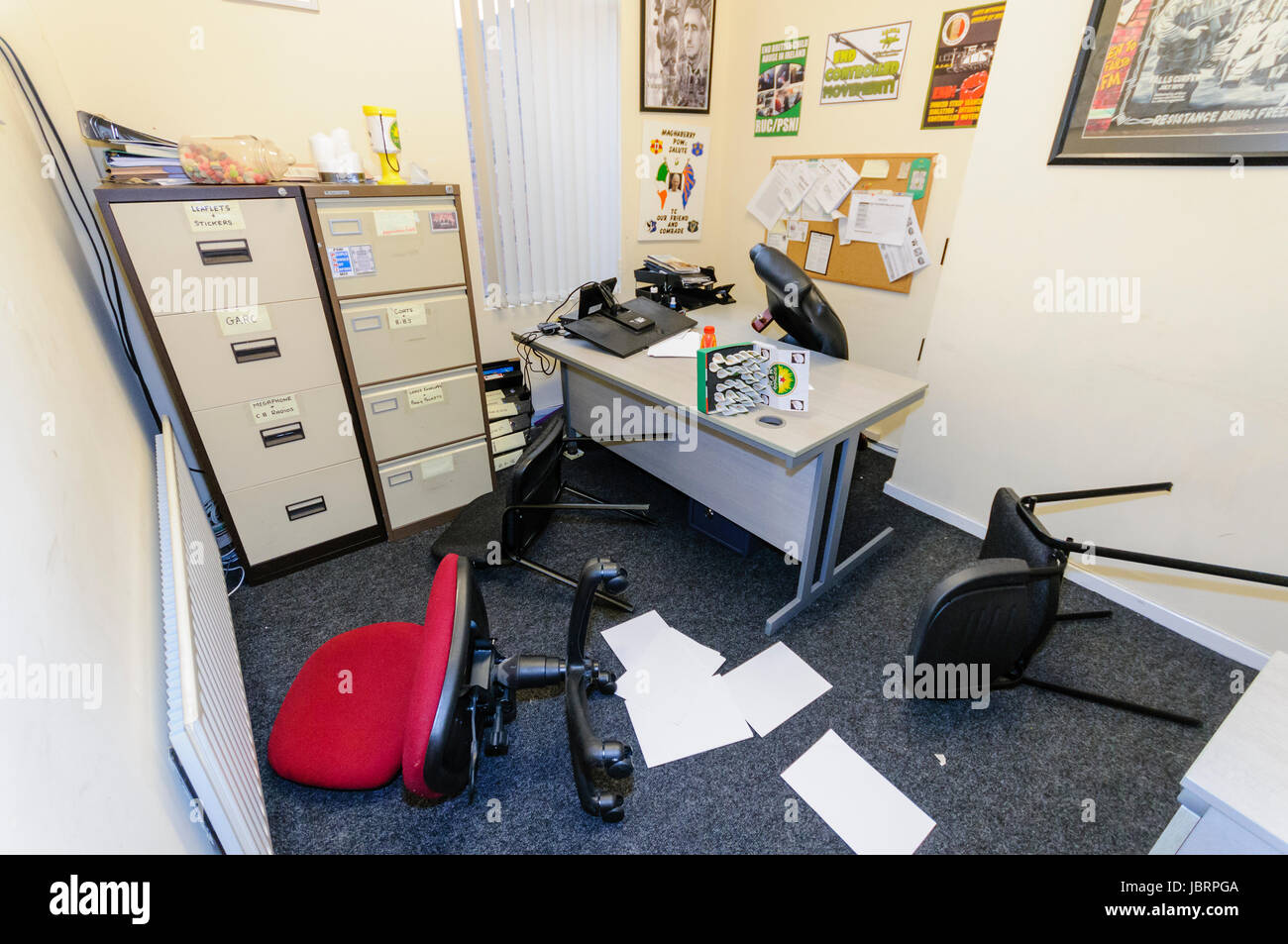 Belfast, Northern Ireland. 12 Jun 2017 - Acting on intelligence received, the PSNI raided offices use by IRPWA, - Stock Image