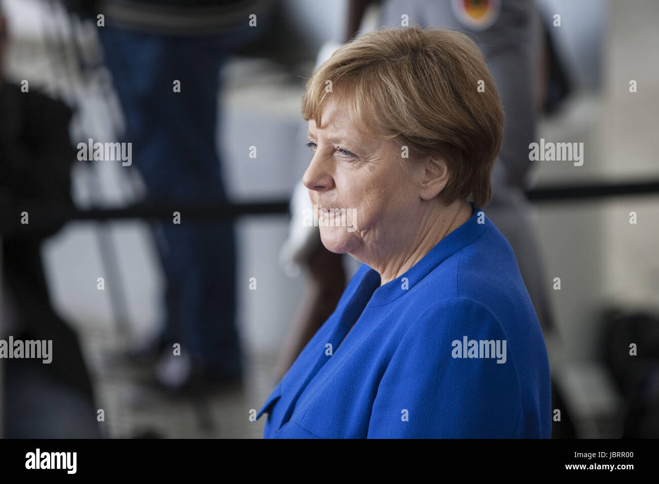 Berlin, Germany. 12th June, 2017. German Chancellor Angela Merkel is Seen waiting to a delegation of African leaders Stock Photo