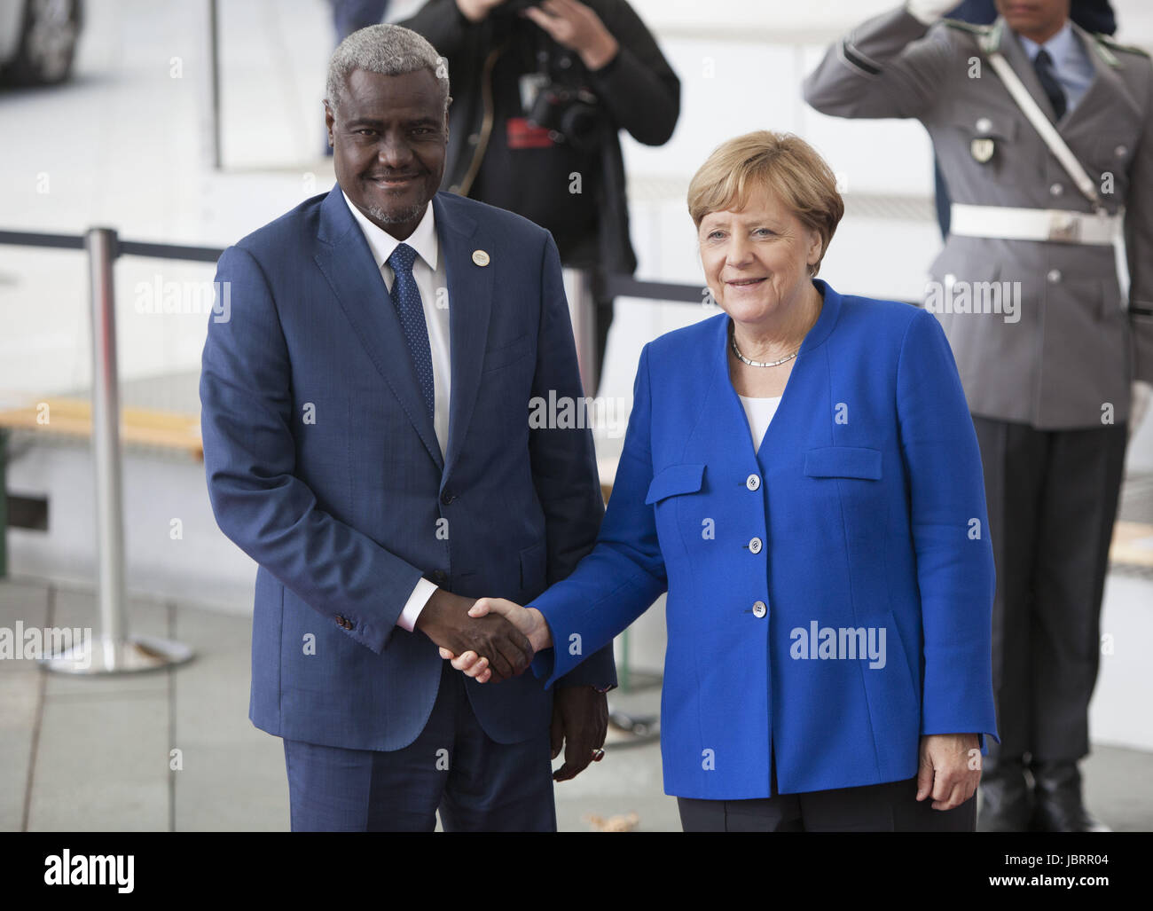 Berlin, Germany. 12th June, 2017. German Chancellor Angela Merkel is Seen Greeting The chairperman of the African - Stock Image