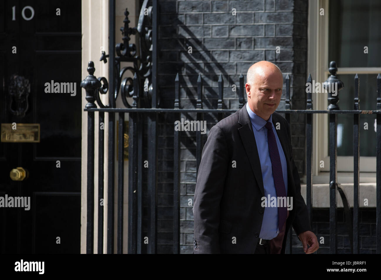 London, UK. 12th June, 2017. Chris Grayling MP, Secretary of State for Transport, leaves 10 Downing Street following - Stock Image