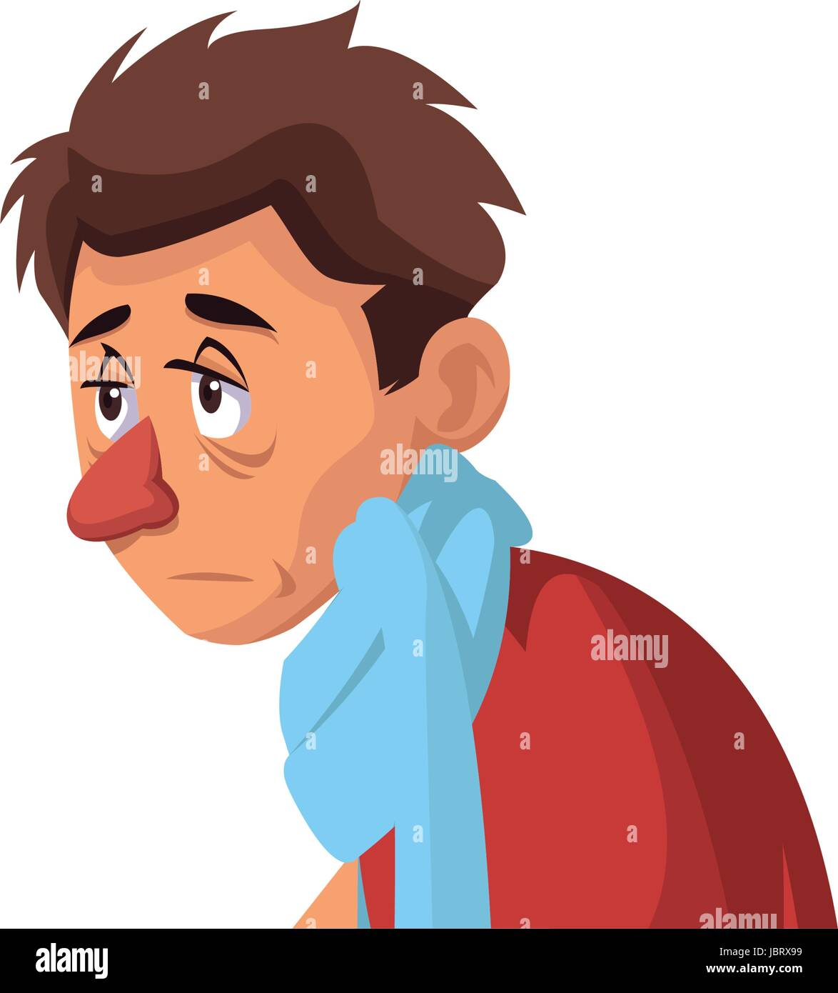 man with flu and fever wrapped in scarf holding handkerchief - Stock Vector