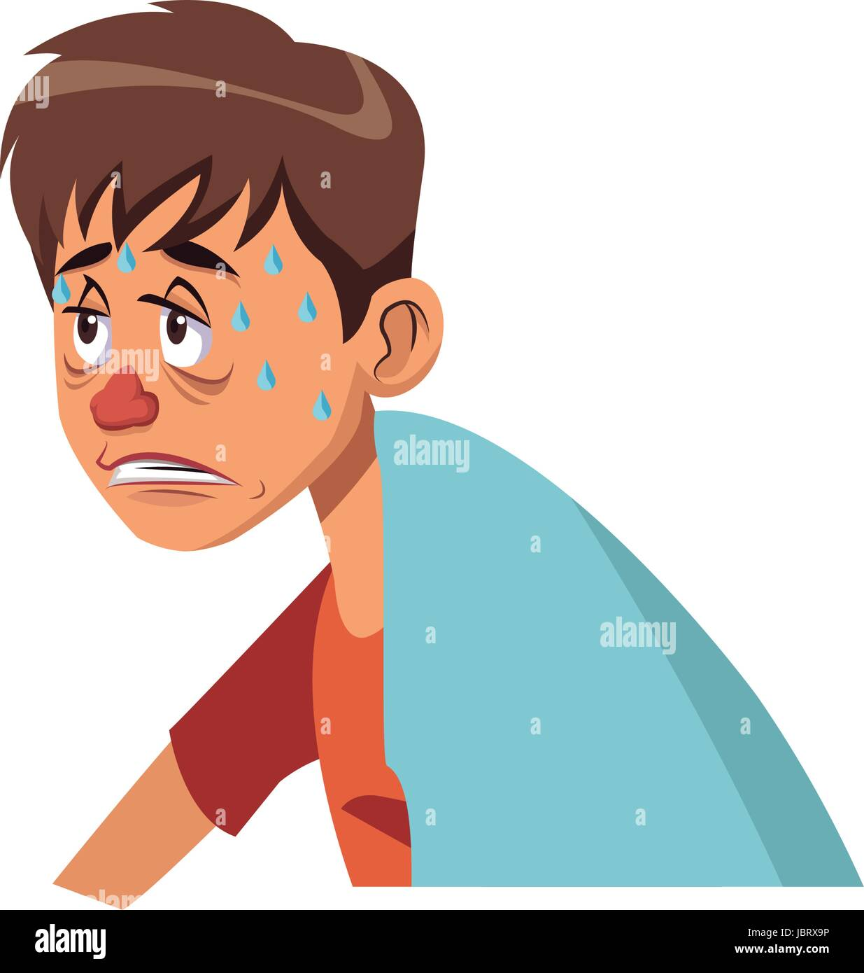 sick man red nose symptoms and sweating - Stock Image