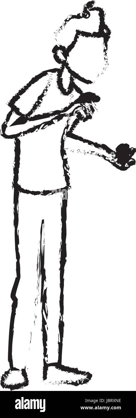 sick man character symptom unwell image - Stock Image