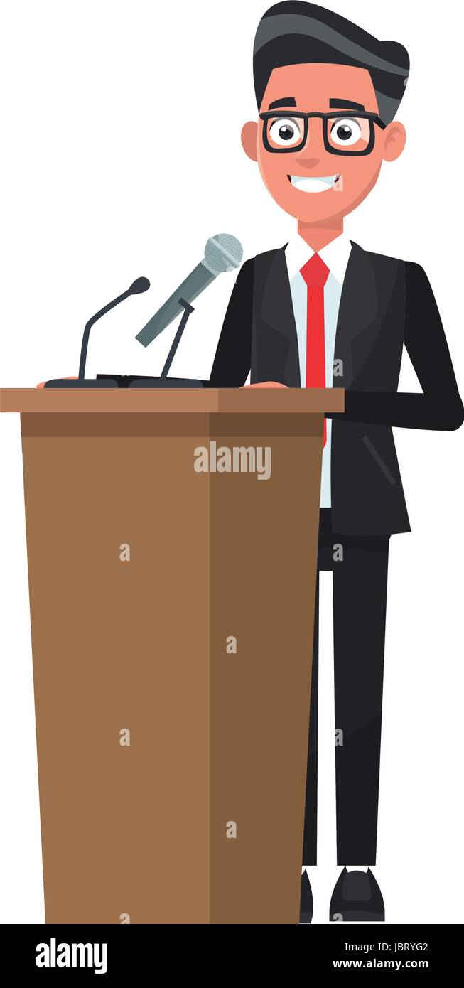man in suit politician stands at tribune with microphones and making a speech vector illustration Stock Vector