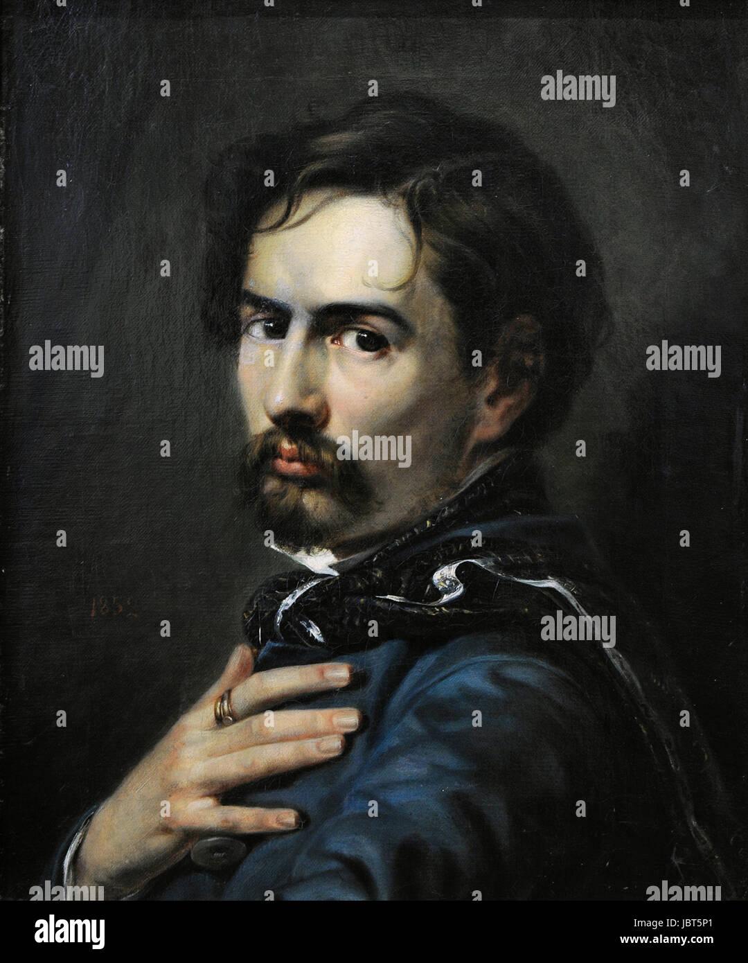 Boleslaw Rusiecki (1824-1913). Self-portrait. Vilnius Picture Gallery. Lithuania. - Stock Image