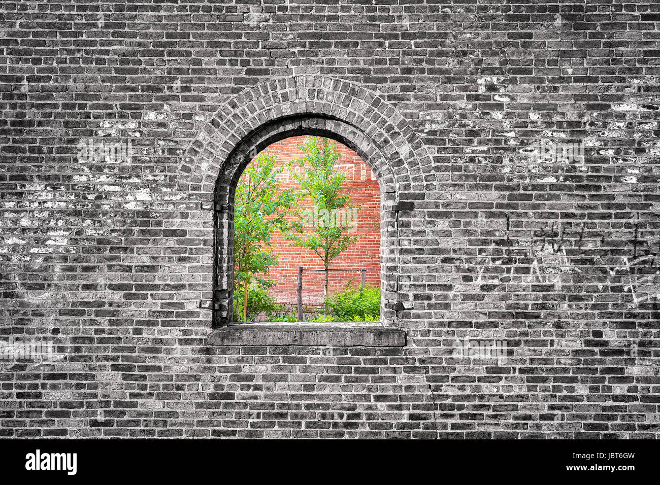 Window in black and white brick wall with green trees, imprisoned nature conceptual photo. - Stock Image