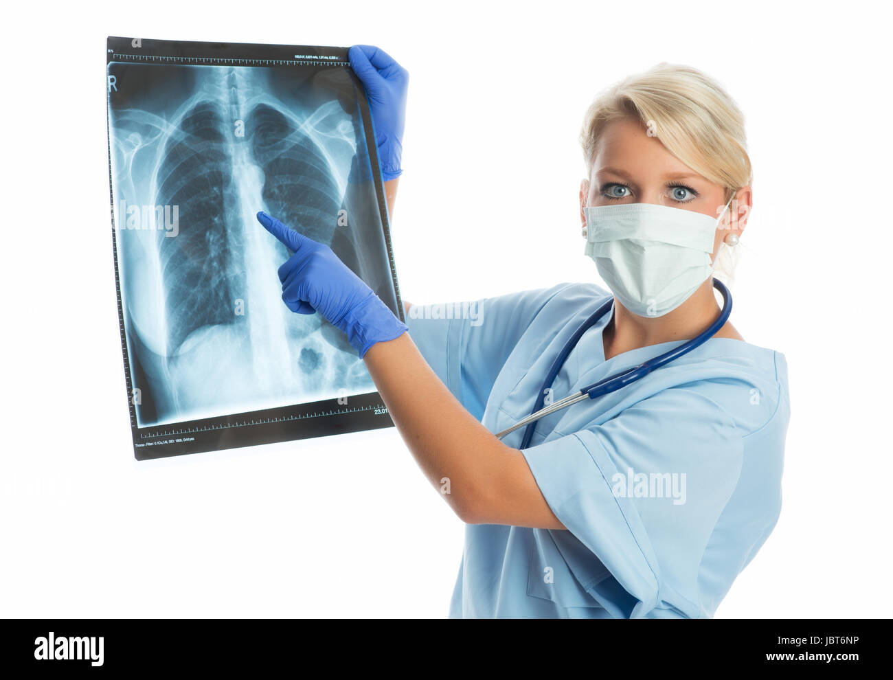 woman doctor with radiographs - Stock Image