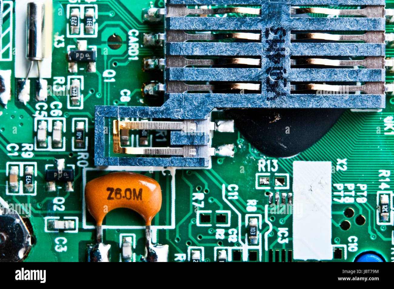 computer chip board macro detail - Stock Image