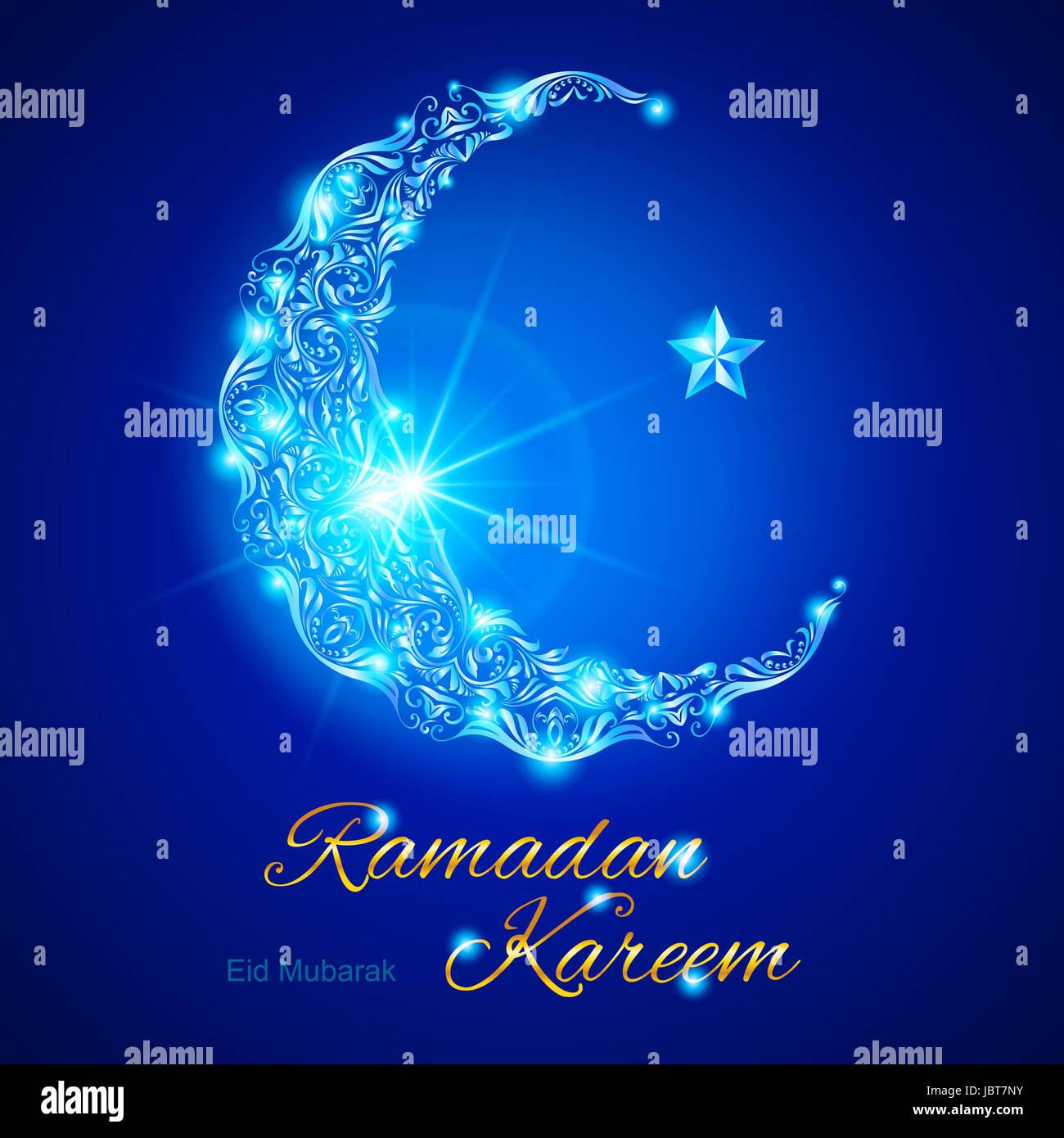 Eid Mubarak Glow Crescent Star Stock Photos Eid Mubarak Glow