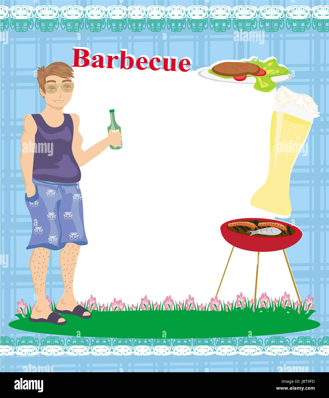 barbecue party invitation with place for your text stock photo