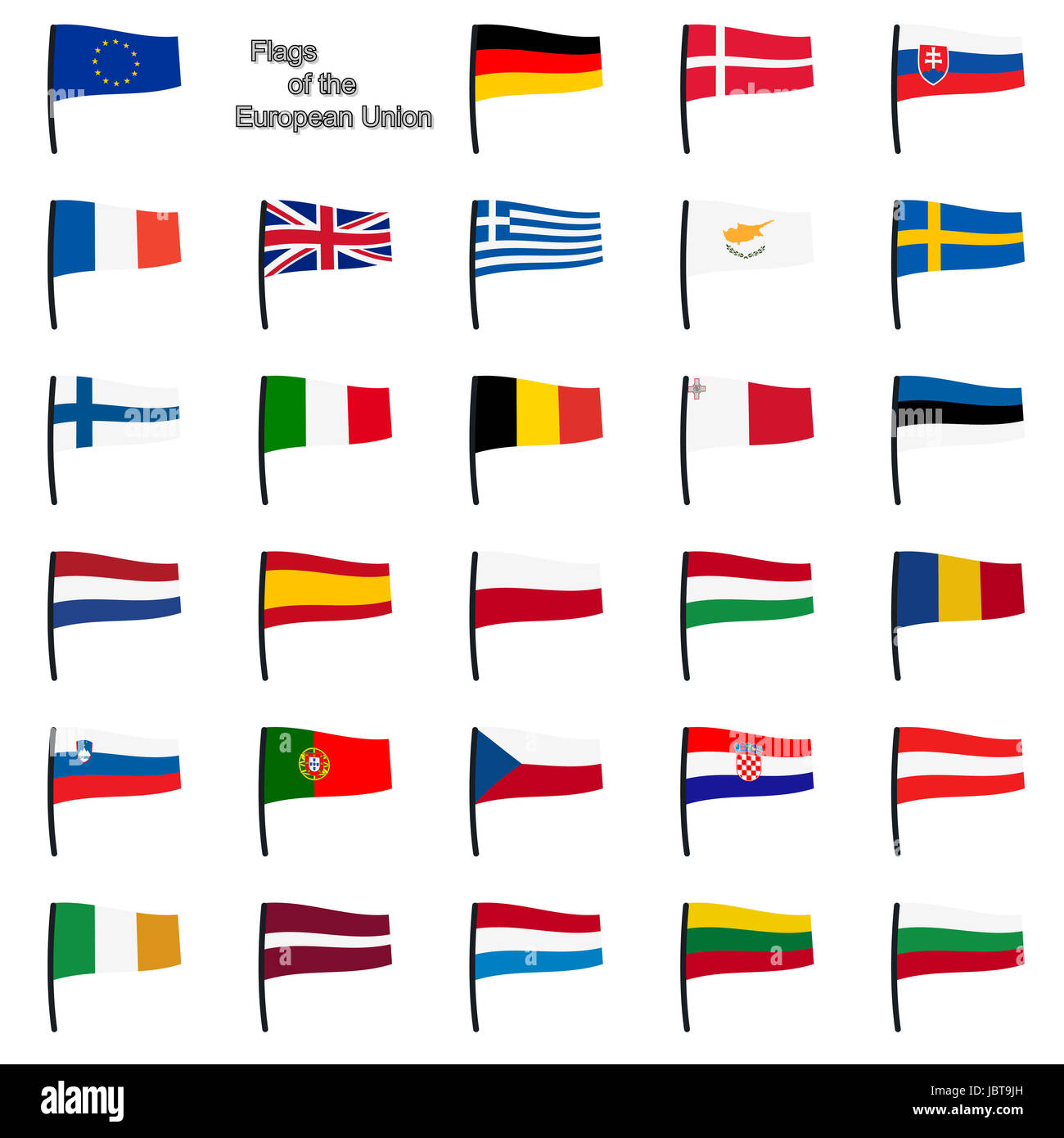 collection of european union flags - Stock Image