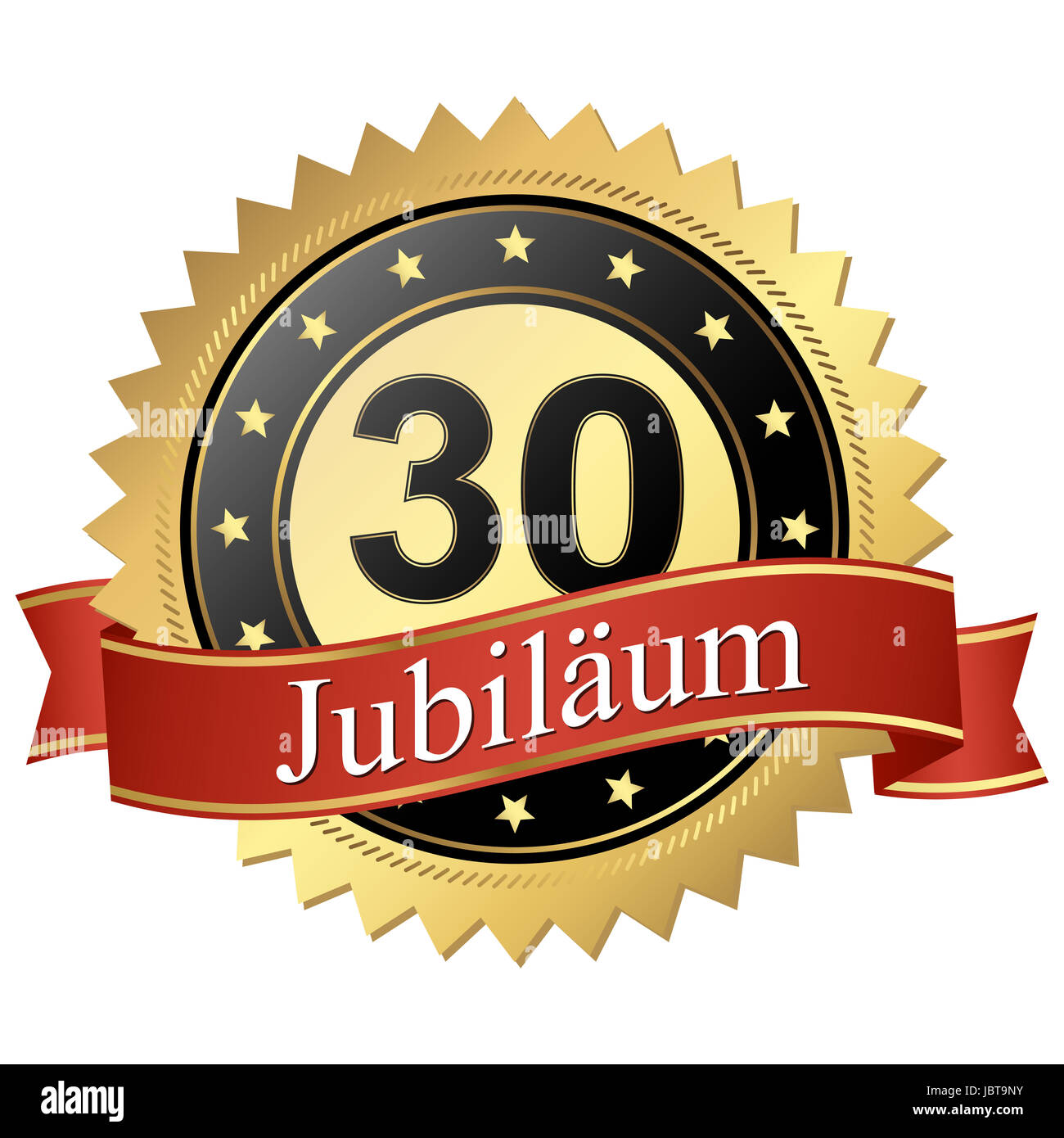 Jubilee button with banners german - 30 Jahre - Stock Image