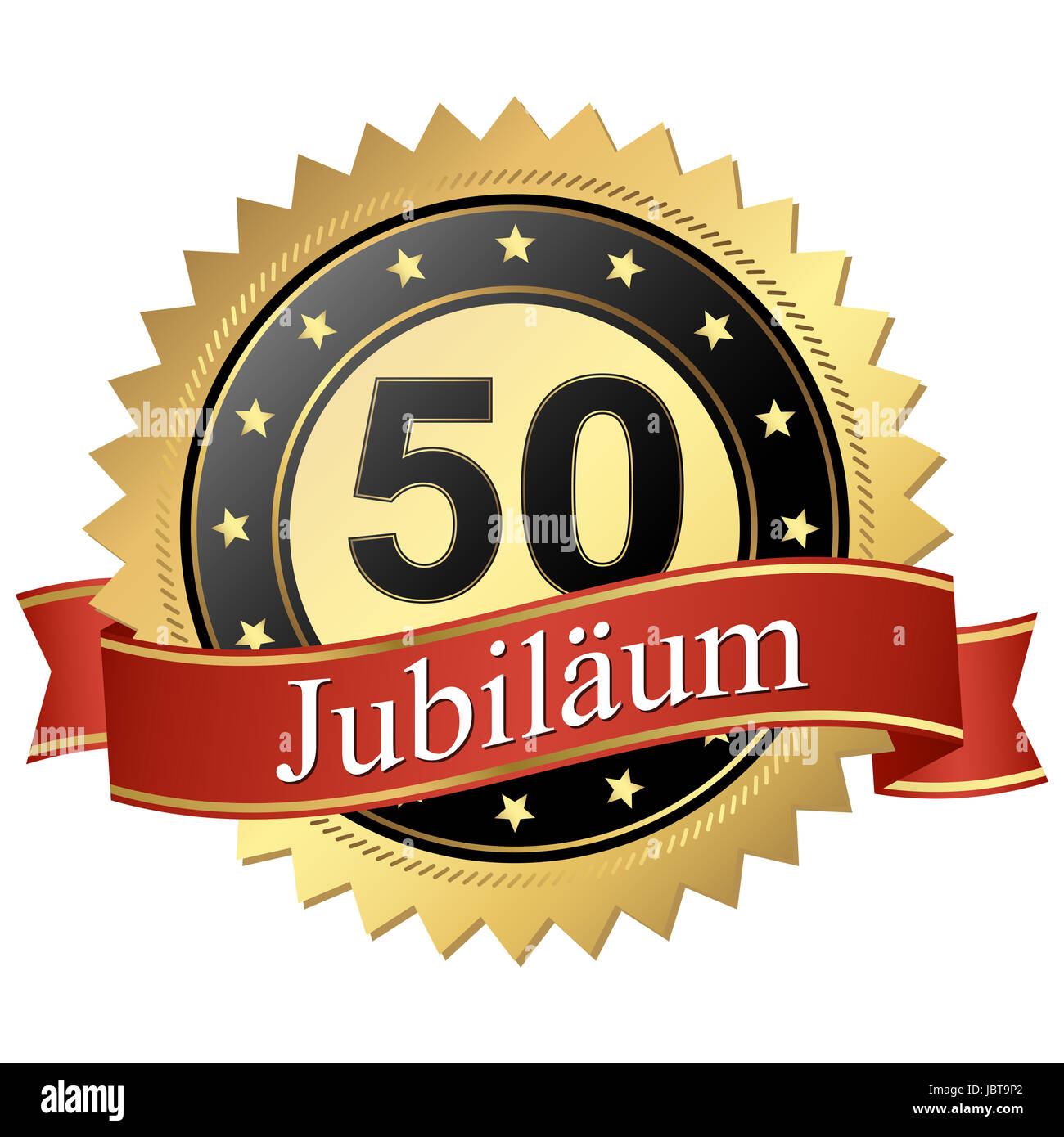 Jubilee button with banners german - 50 Jahre - Stock Image
