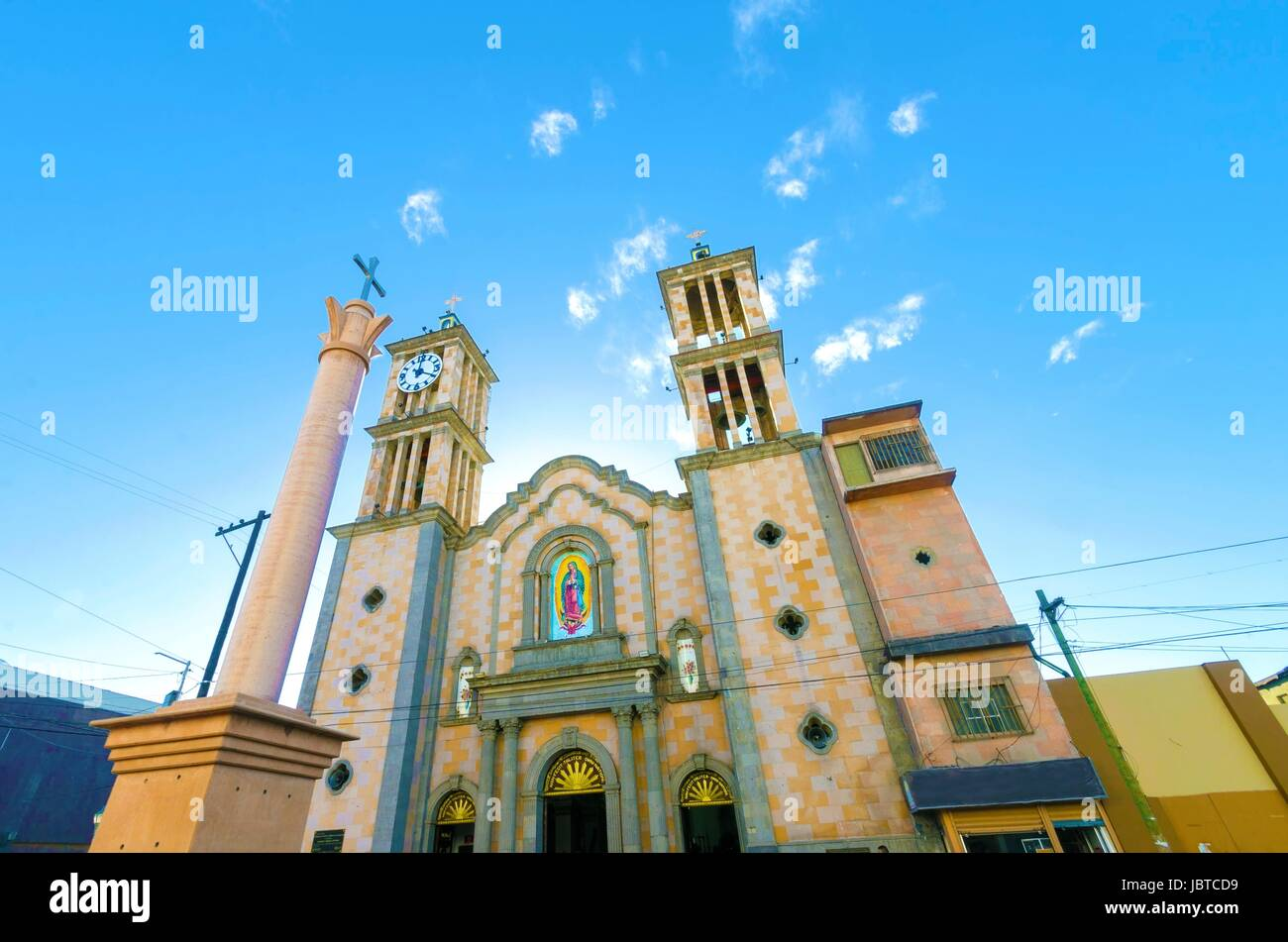 The Catedral de Nuestra Senora de Guadalupe, the first catholic church in Tijuana, Mexico of the Lady of Guadalupe. - Stock Image