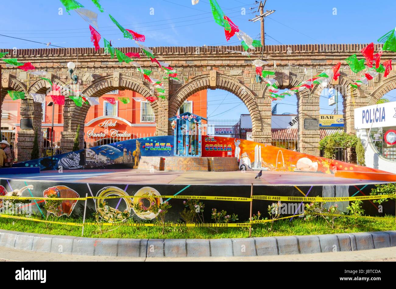 Plaza Santa Cecilia, in Tijuana, Mexico, a historic and traditional mexican square, with mariachi and people playing - Stock Image