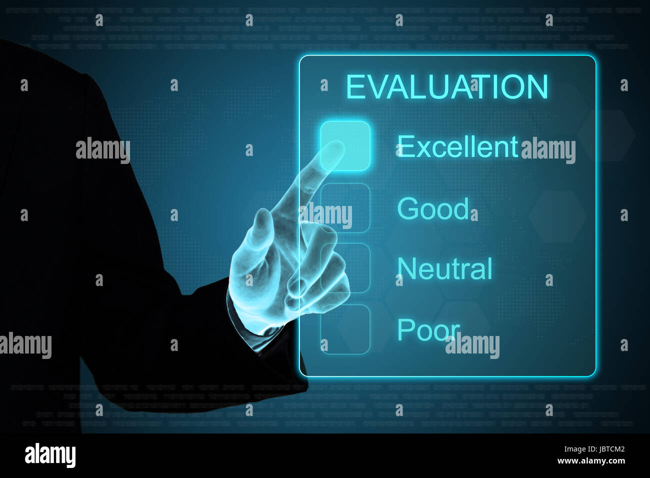 business hand pushing evaluation feedback on a touch screen interface - Stock Image