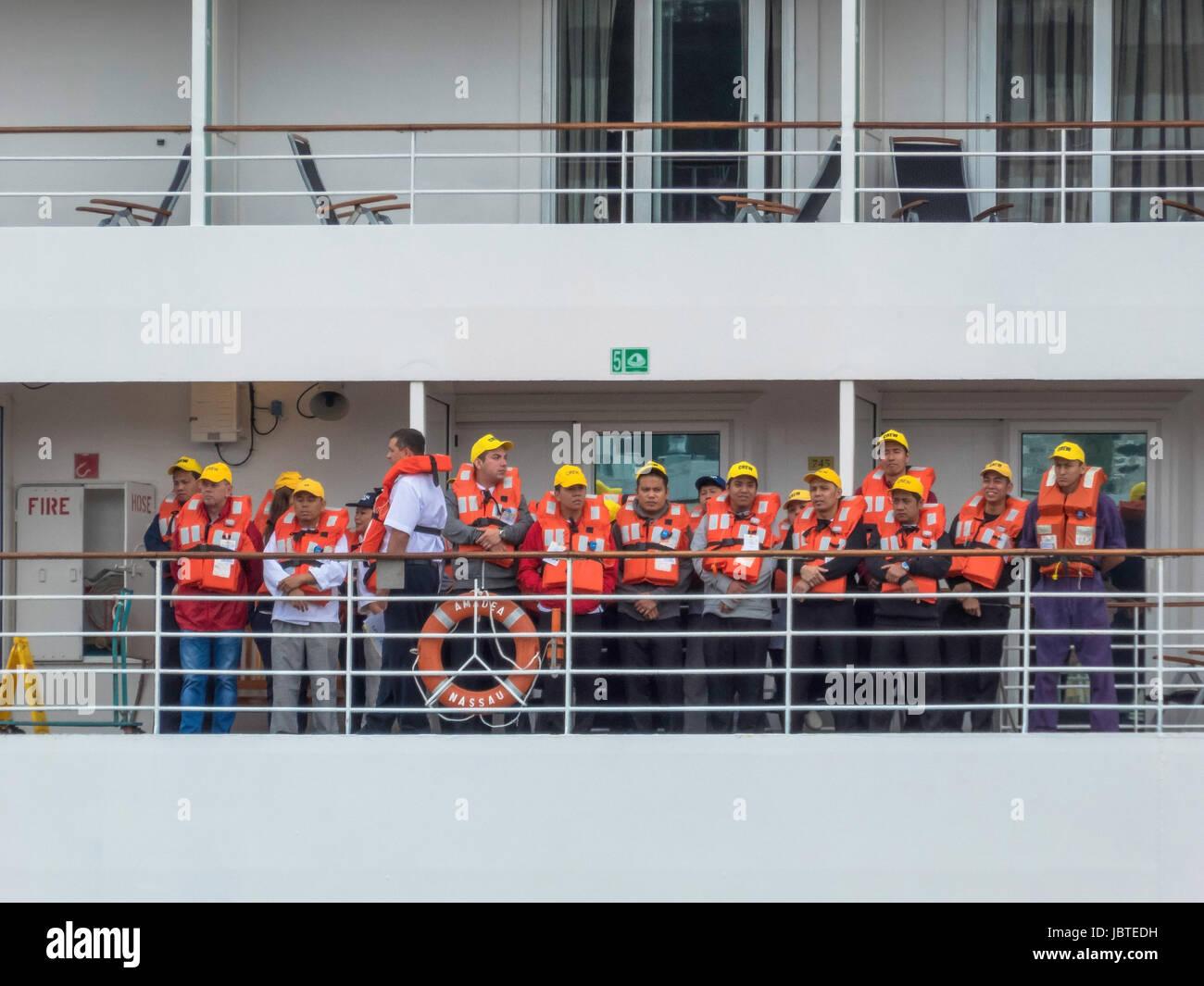 Rettungsübung auf Kreuzfahrtschif Amadea / safety drill on cruiseship Amadea - Stock Image