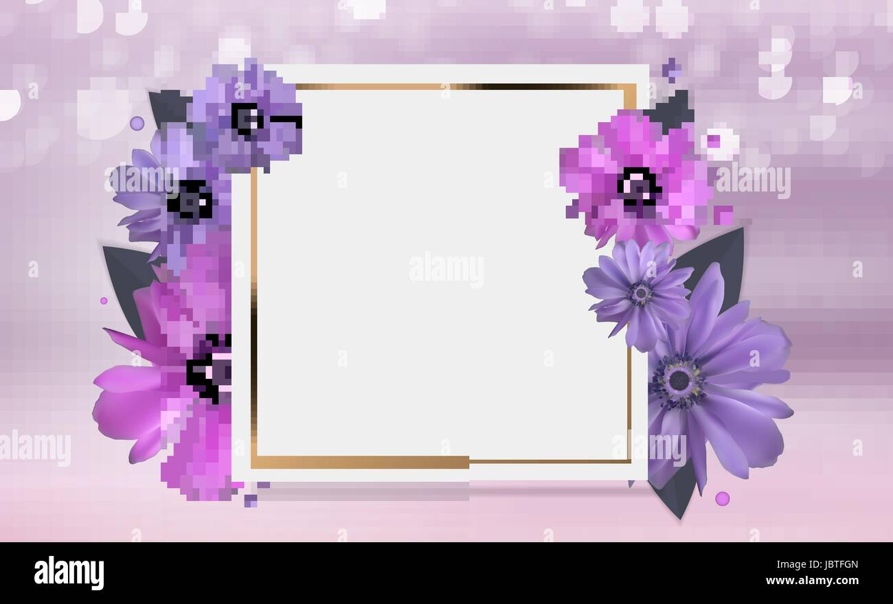 Abstract Anemone Flower Realistic Vector Frame Background. EPS10 - Stock Vector