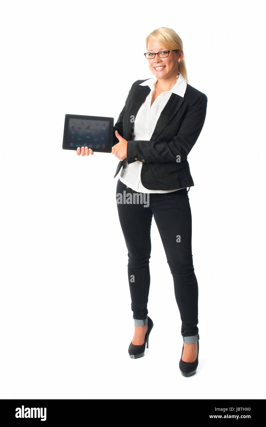 businesswoman holding a tablet pc - Stock Image