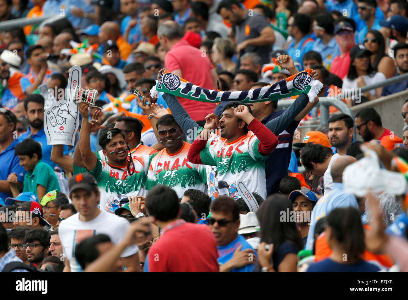 Indian supporters and fans seen during the ICC Champions Trophy 2017 match between India and South Africa at The - Stock Image