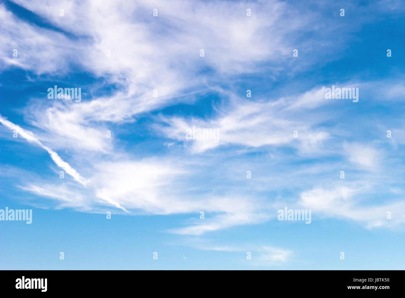 Blue sky with veil clouds - cirri, Blauer Himmel mit Schleierwolken - Federwolken - Stock Image