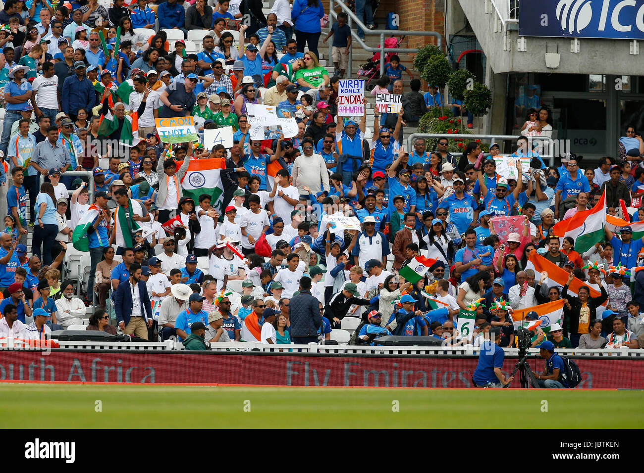 Indian supporters and fans seen during the ICC Champions Trophy 2017 match between India and South Africa at The Stock Photo