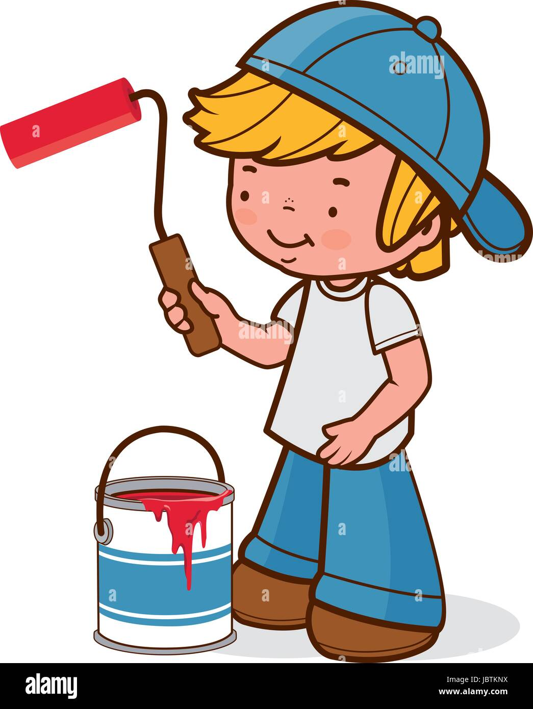Boy Painting With A Paint Roller And A Paint Bucket Vector Stock Vector Image Art Alamy