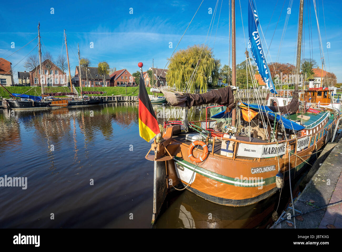 Carolinensiel-marina and bridge, Carolinensiel- Bootshafen und Bruecke Stock Photo