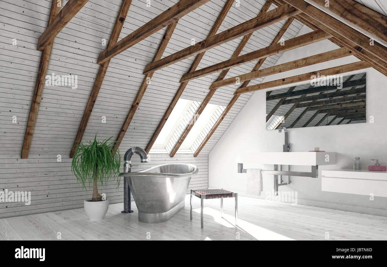 Concept of attic bathroom with white walls, roof window and metal ...