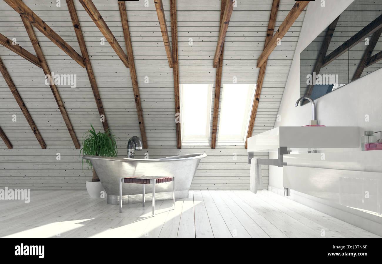 Vintage metal bath in attic bathroom designed in minimalist style ...