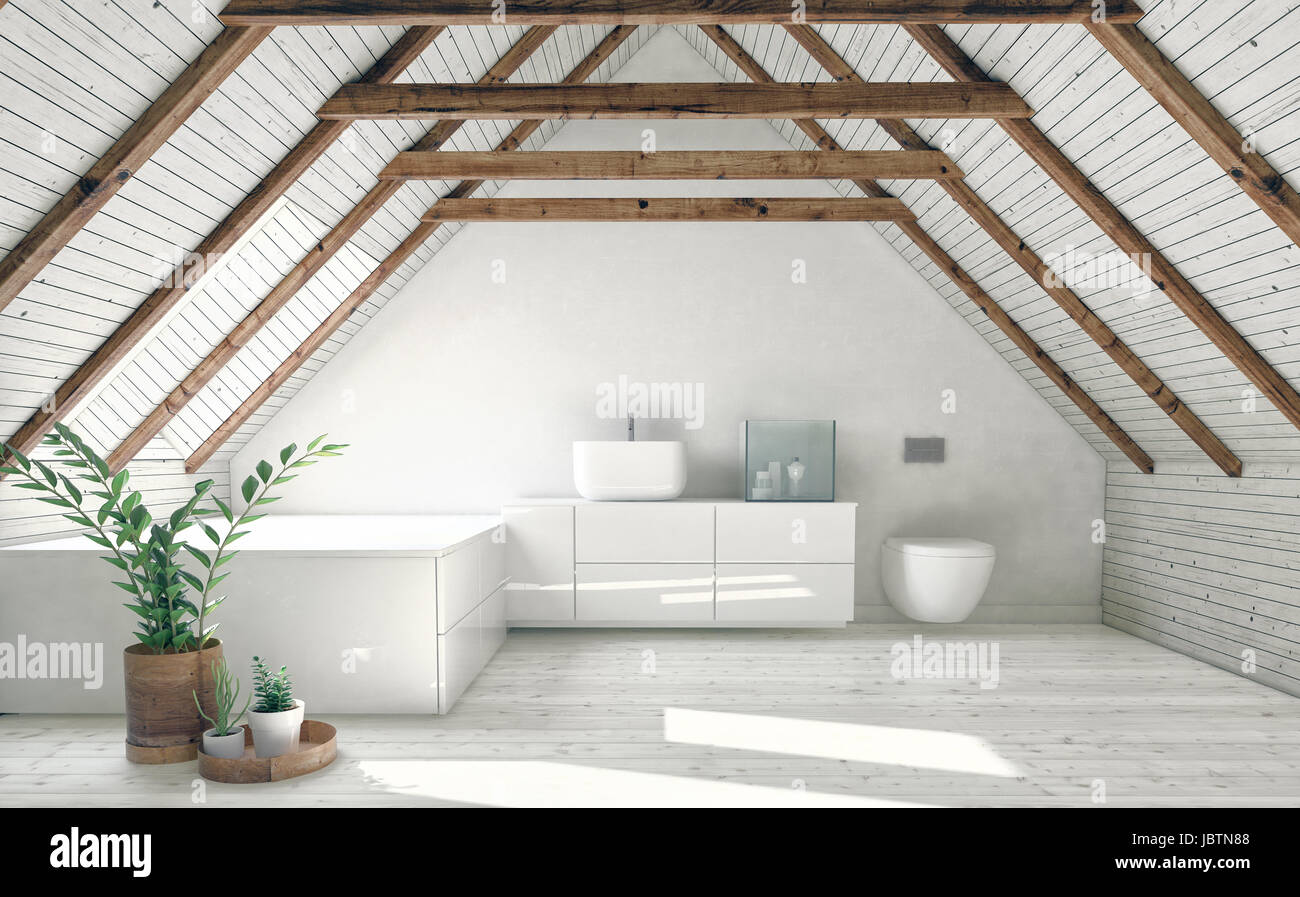Modern bathroom with white attic walls, wooden framework and roof ...