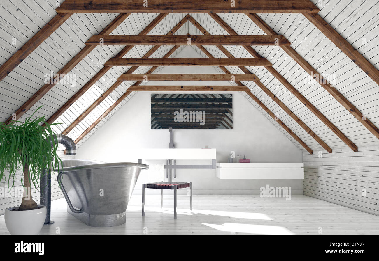 Modern monochromatic white loft bathroom in a converted attic with a stylish boat-shaped tub and wall-mounted vanity below a mirror in the pitch of th & Modern monochromatic white loft bathroom in a converted attic with a ...