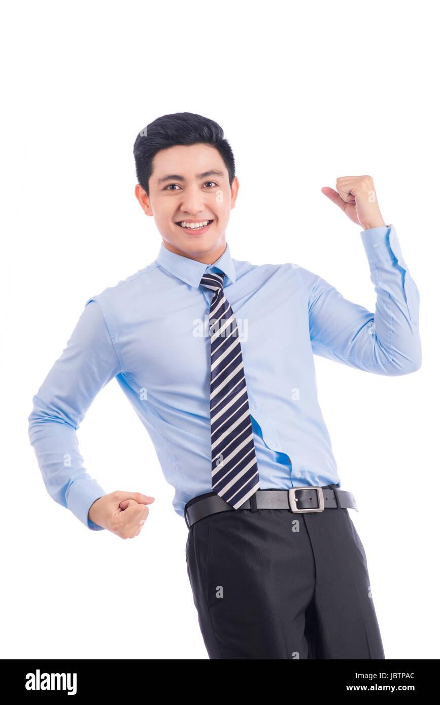 Goal achievement. Businessman rejoicing for his success Stock Photo