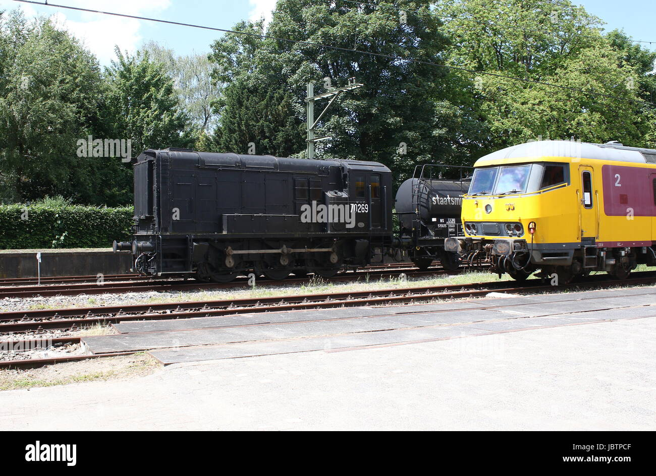 Old locomotives at Nederlands Spoorwegmuseum (Dutch national railway museum), Utrecht, The Netherlands. Located - Stock Image