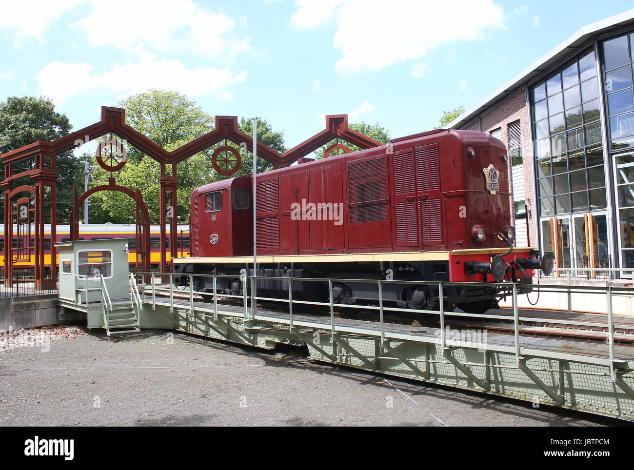 Old locomotive at Nederlands Spoorwegmuseum (Dutch national railway museum), Utrecht, The Netherlands. Located at - Stock Image