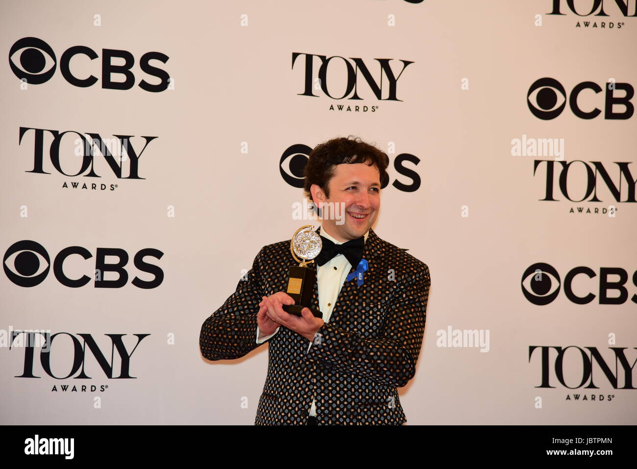 Bradley King with award for best lighting design for Natasha, Pierre & the Great Comet of 1812. The 71st Annual Stock Photo