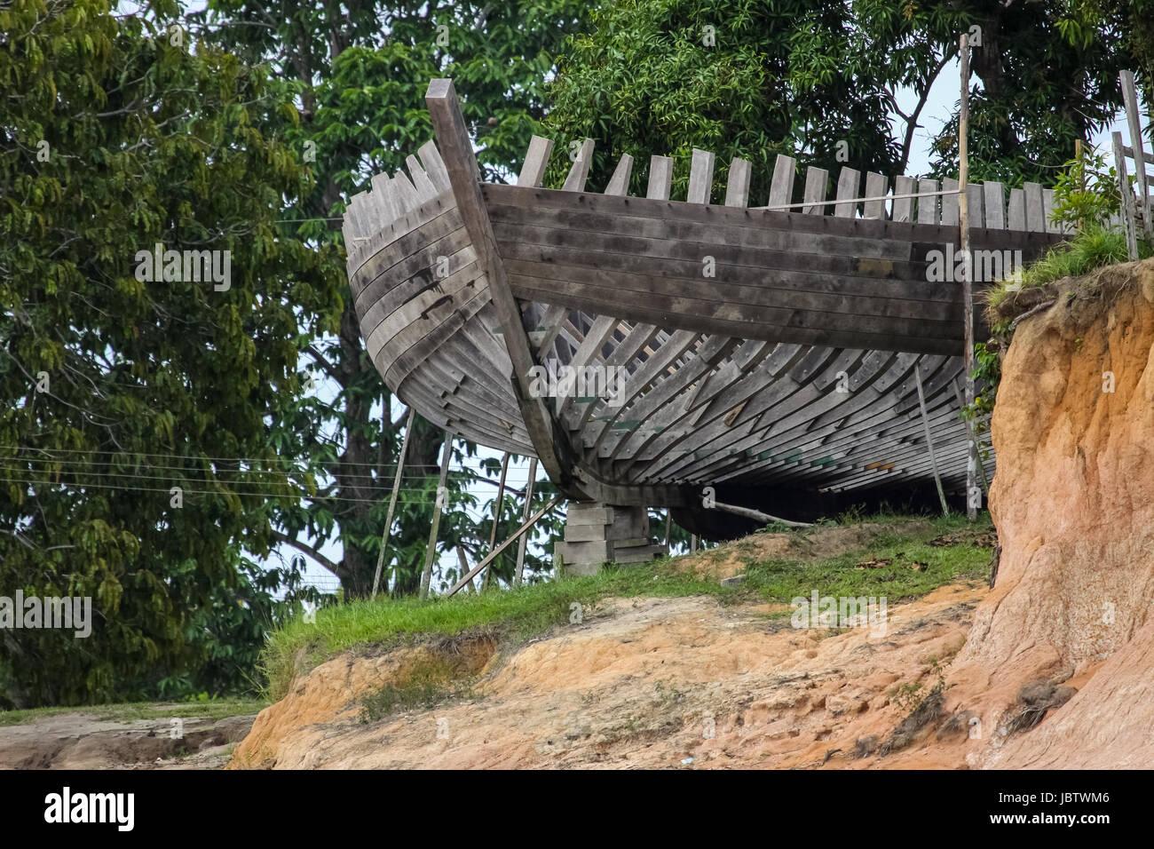 Amazon boat builders Yard, Rio Negro, Brazil - Stock Image