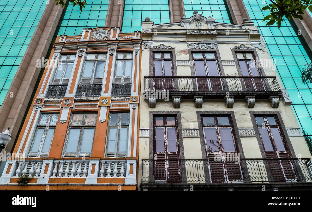 Historic buildings framed of modern facades, Rio de Janeiro, Brazil - Stock Image