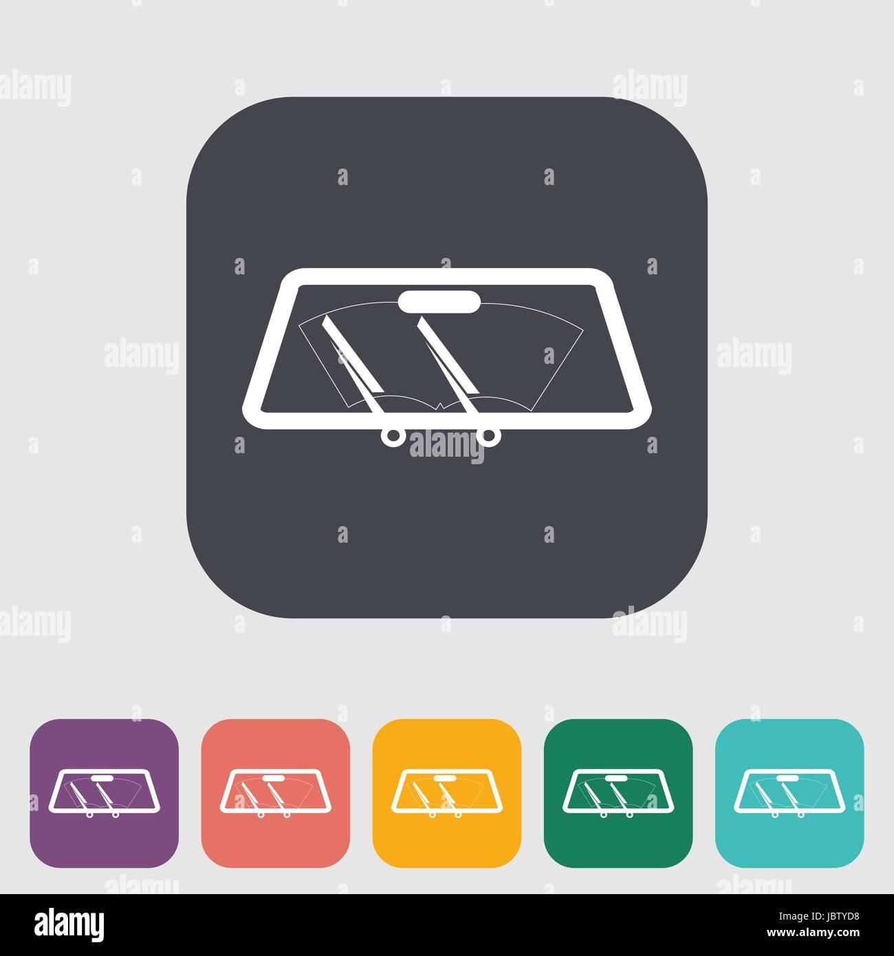 Wiper car single flat icon. Vector illustration. - Stock Image