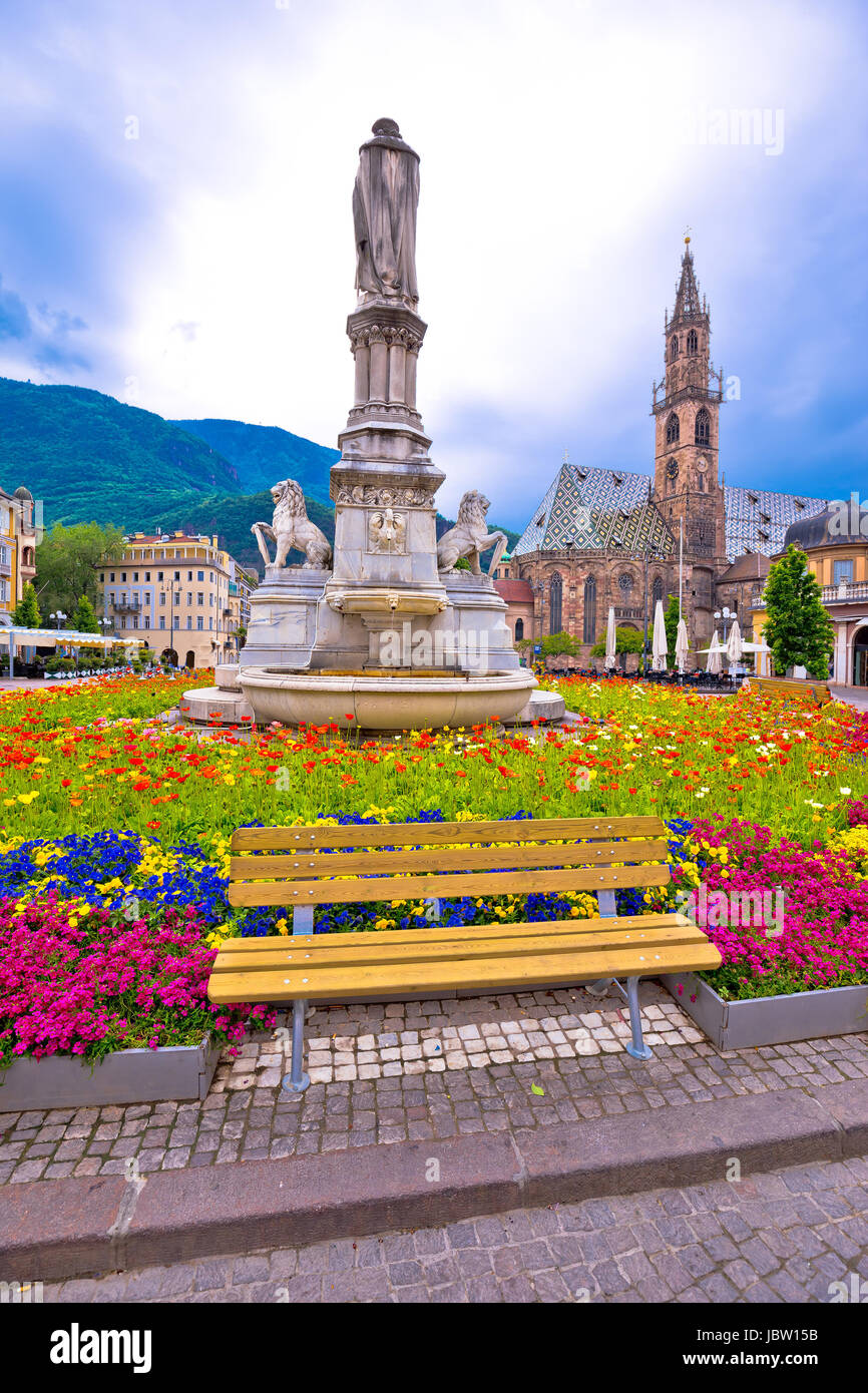 Bolzano main square and cathedral view, South Tyrol region of Italy - Stock Image